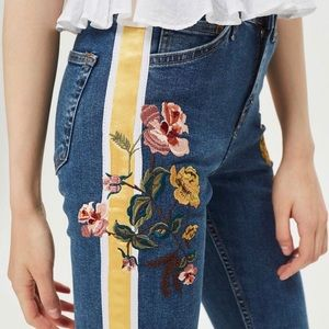 Embroidered & side stripe blue jeans